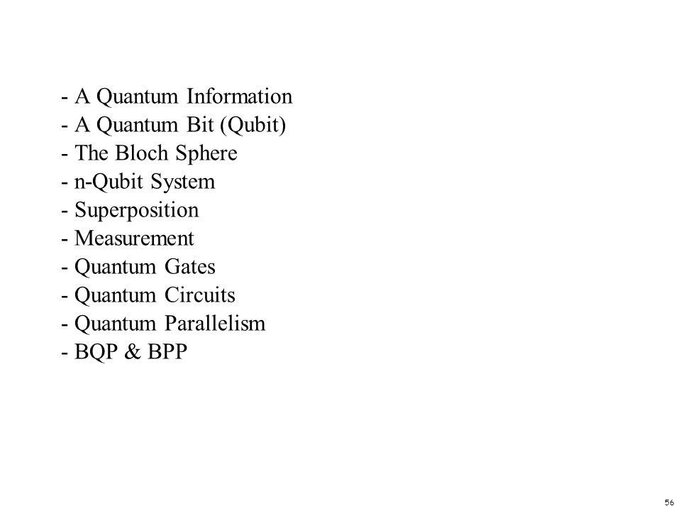 56 - A Quantum Information - A Quantum Bit (Qubit) - The Bloch Sphere - n-Qubit System - Superposition - Measurement - Quantum Gates - Quantum Circuit