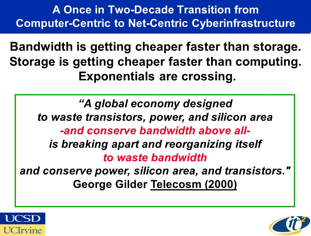 A Once in Two-Decade Transition from Computer-Centric to Net-Centric Cyberinfrastructure A global economy designed to waste transistors, power, and silicon area -and conserve bandwidth above all- is breaking apart and reorganizing itself to waste bandwidth and conserve power, silicon area, and transistors. George Gilder Telecosm (2000) Bandwidth is getting cheaper faster than storage.