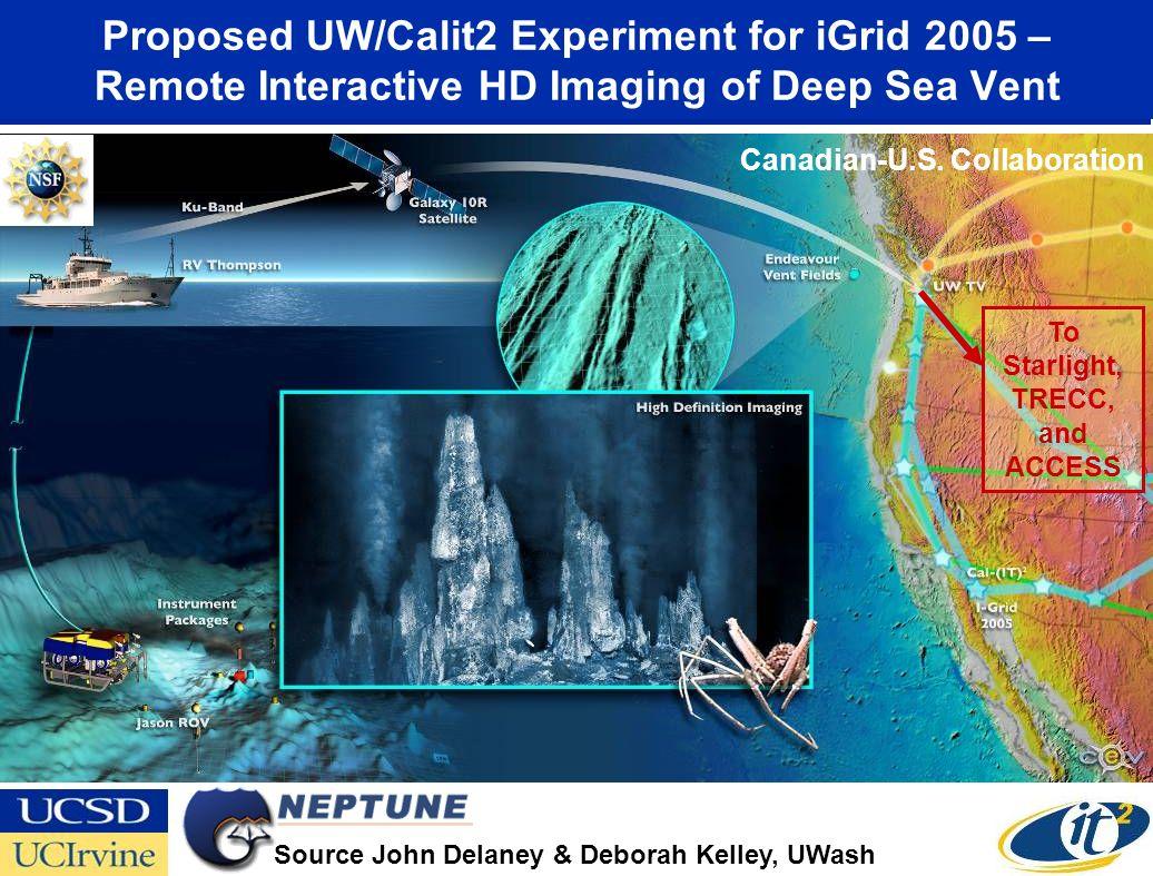 Proposed UW/Calit2 Experiment for iGrid 2005 – Remote Interactive HD Imaging of Deep Sea Vent Source John Delaney & Deborah Kelley, UWash To Starlight, TRECC, and ACCESS Canadian-U.S.