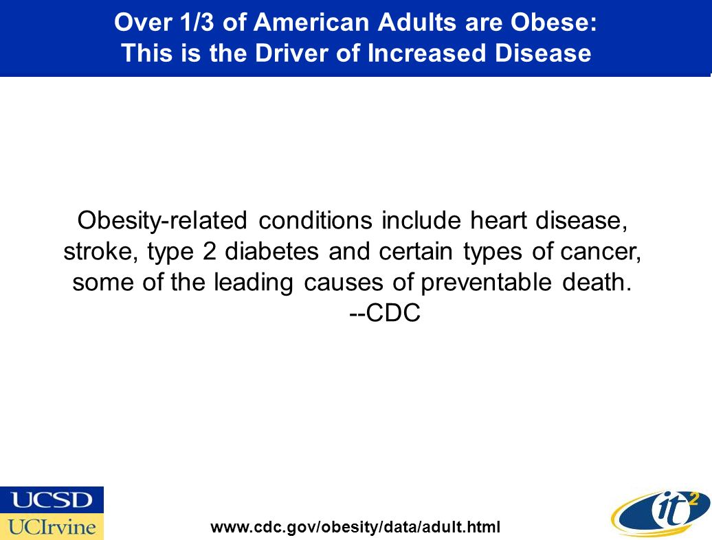 Obesity-related conditions include heart disease, stroke, type 2 diabetes and certain types of cancer, some of the leading causes of preventable death