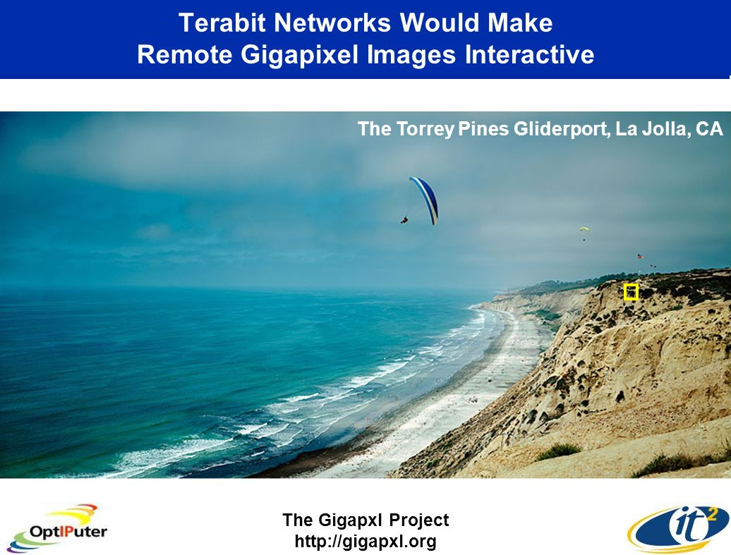 Terabit Networks Would Make Remote Gigapixel Images Interactive The Gigapxl Project http://gigapxl.org The Torrey Pines Gliderport, La Jolla, CA