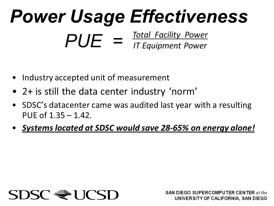 SAN DIEGO SUPERCOMPUTER CENTER at the UNIVERSITY OF CALIFORNIA, SAN DIEGO Energy Savings Multiply Courtesy Jack Pouchet, Emerson