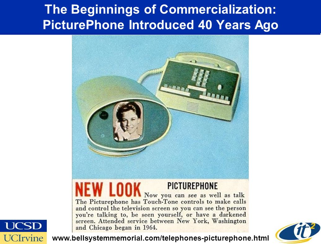 The Beginnings of Commercialization: PicturePhone Introduced 40 Years Ago www.bellsystemmemorial.com/telephones-picturephone.html