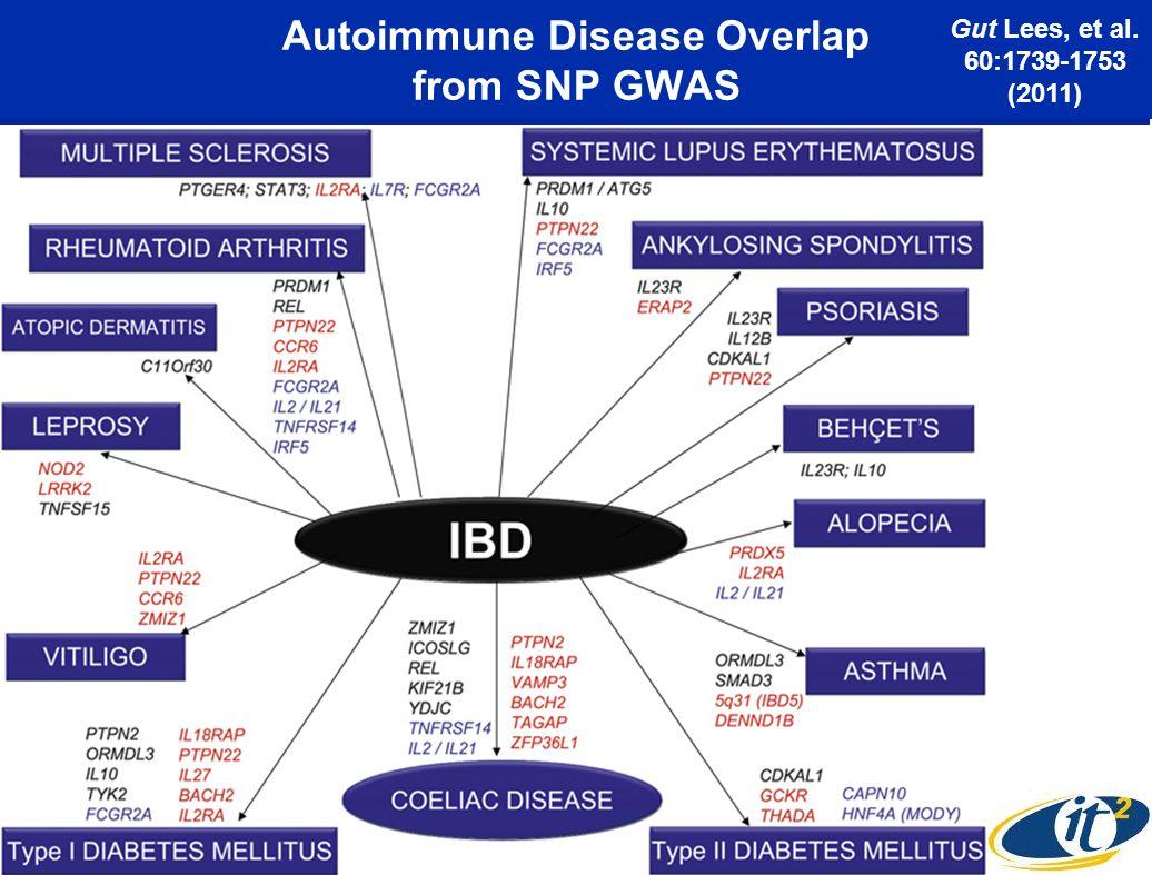 Autoimmune Disease Overlap from SNP GWAS Gut Lees, et al. 60:1739-1753 (2011)