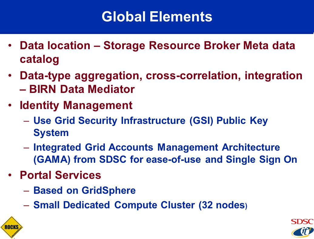Global Elements Data location – Storage Resource Broker Meta data catalog Data-type aggregation, cross-correlation, integration – BIRN Data Mediator I
