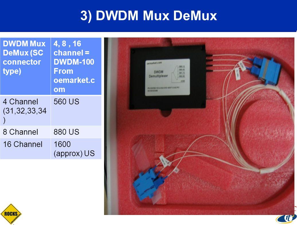 DWDM Mux DeMux (SC connector type) 4, 8, 16 channel = DWDM-100 From oemarket.c om 4 Channel (31,32,33,34 ) 560 US 8 Channel880 US 16 Channel1600 (appr