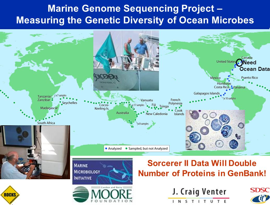 Marine Genome Sequencing Project – Measuring the Genetic Diversity of Ocean Microbes Sorcerer II Data Will Double Number of Proteins in GenBank! Need