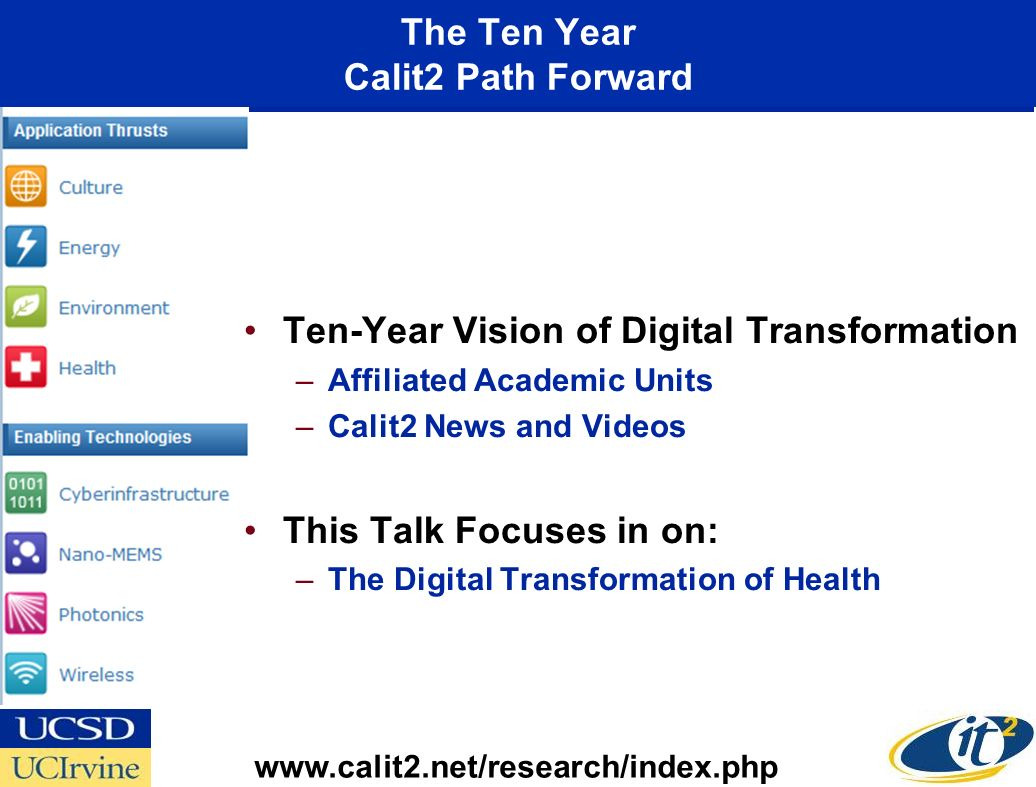The Ten Year Calit2 Path Forward www.calit2.net/research/index.php Ten-Year Vision of Digital Transformation –Affiliated Academic Units –Calit2 News a