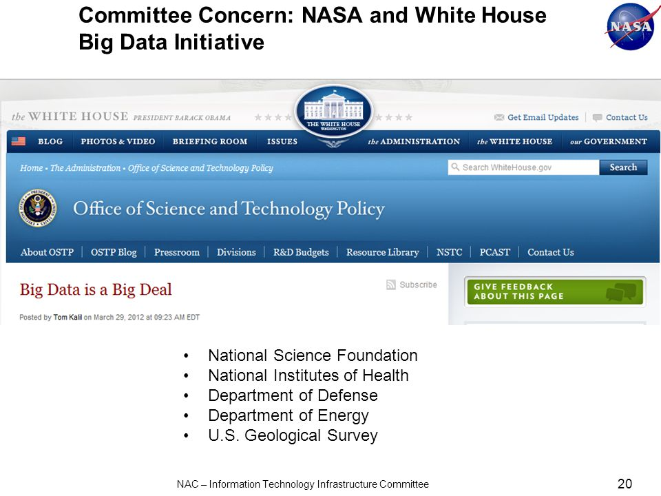 Committee Concern: NASA and White House Big Data Initiative 20 NAC – Information Technology Infrastructure Committee National Science Foundation National Institutes of Health Department of Defense Department of Energy U.S.