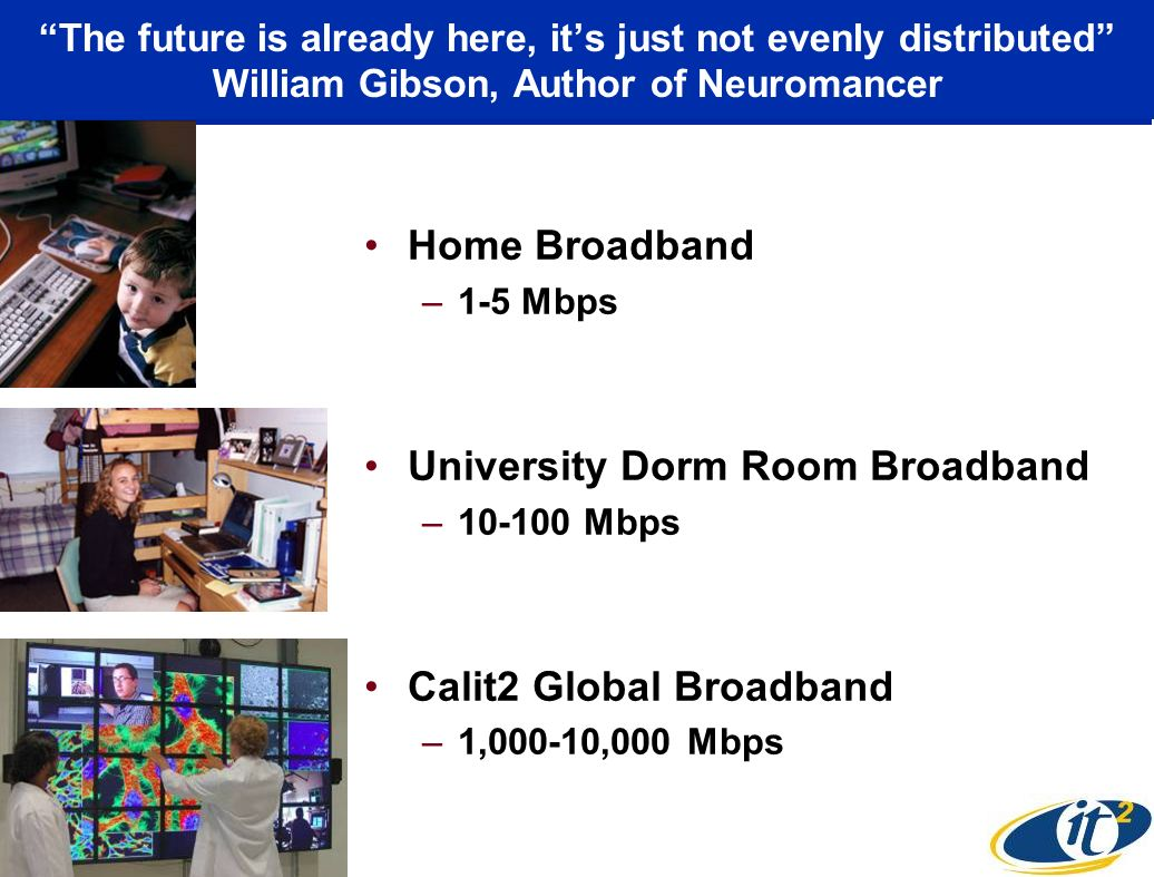 The future is already here, its just not evenly distributed William Gibson, Author of Neuromancer Home Broadband –1-5 Mbps University Dorm Room Broadband – Mbps Calit2 Global Broadband –1,000-10,000 Mbps