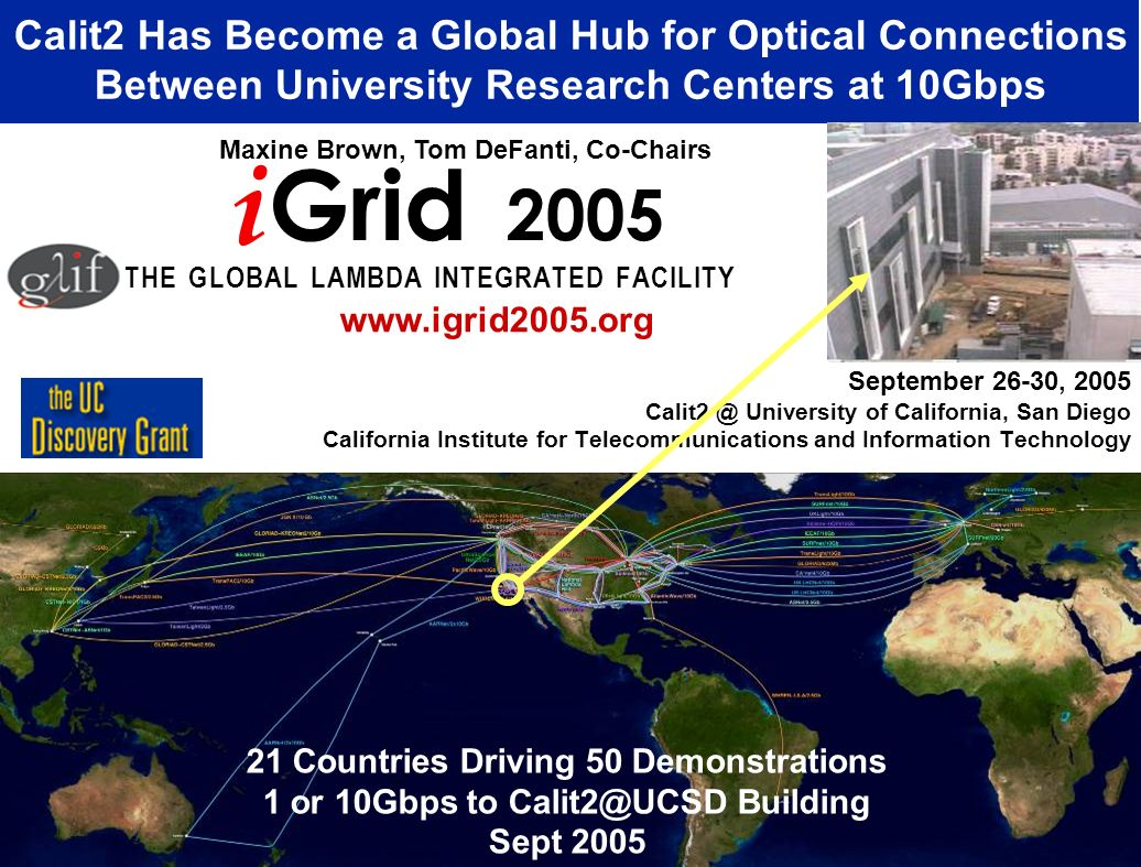September 26-30, 2005 University of California, San Diego California Institute for Telecommunications and Information Technology Calit2 Has Become a Global Hub for Optical Connections Between University Research Centers at 10Gbps i Grid 2005 T H E G L O B A L L A M B D A I N T E G R A T E D F A C I L I T Y Maxine Brown, Tom DeFanti, Co-Chairs   21 Countries Driving 50 Demonstrations 1 or 10Gbps to Building Sept 2005