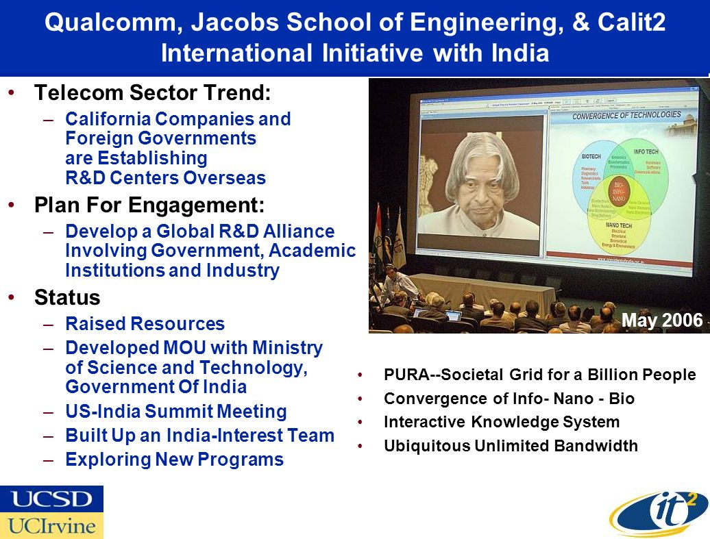 Qualcomm, Jacobs School of Engineering, & Calit2 International Initiative with India Telecom Sector Trend: –California Companies and Foreign Governments are Establishing R&D Centers Overseas Plan For Engagement: –Develop a Global R&D Alliance Involving Government, Academic Institutions and Industry Status –Raised Resources –Developed MOU with Ministry of Science and Technology, Government Of India –US-India Summit Meeting –Built Up an India-Interest Team –Exploring New Programs PURA--Societal Grid for a Billion People Convergence of Info- Nano - Bio Interactive Knowledge System Ubiquitous Unlimited Bandwidth May 2006