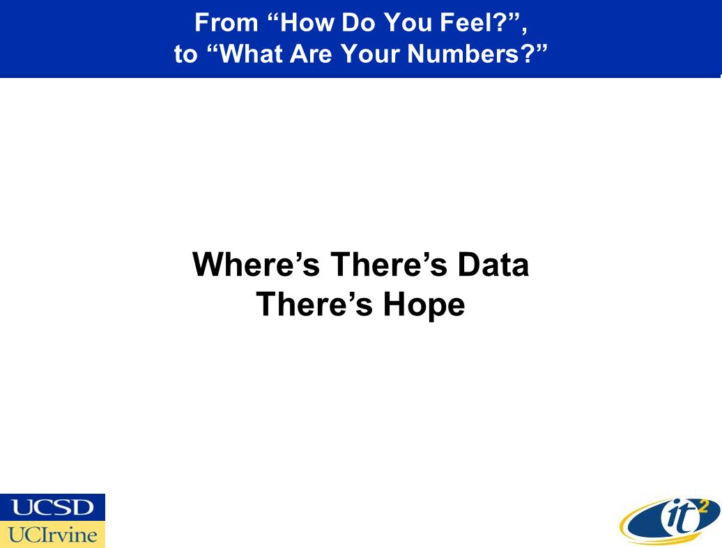 From How Do You Feel?, to What Are Your Numbers? Wheres Theres Data Theres Hope