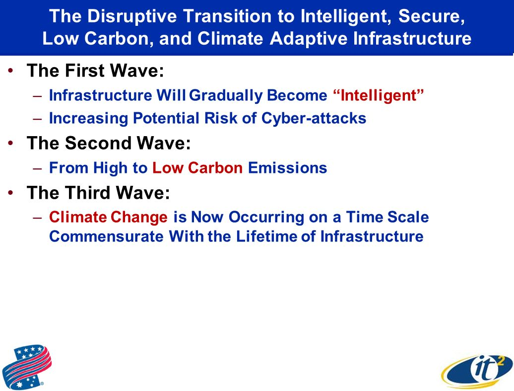 The Disruptive Transition to Intelligent, Secure, Low Carbon, and Climate Adaptive Infrastructure The First Wave: –Infrastructure Will Gradually Become Intelligent –Increasing Potential Risk of Cyber-attacks The Second Wave: –From High to Low Carbon Emissions The Third Wave: –Climate Change is Now Occurring on a Time Scale Commensurate With the Lifetime of Infrastructure