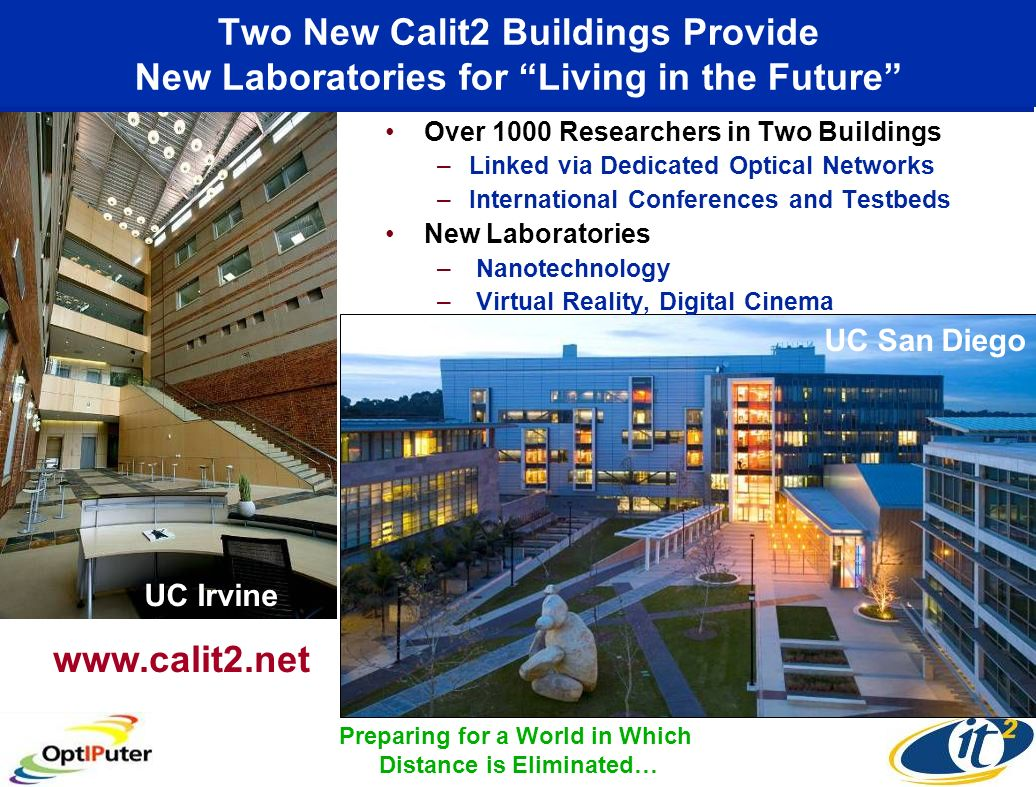 Two New Calit2 Buildings Provide New Laboratories for Living in the Future Over 1000 Researchers in Two Buildings –Linked via Dedicated Optical Networ