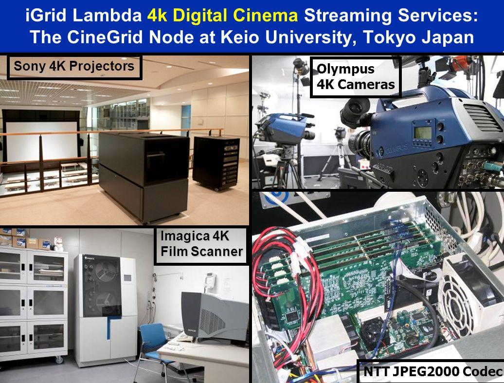 iGrid Lambda 4k Digital Cinema Streaming Services: The CineGrid Node at Keio University, Tokyo Japan SXRD-105 4K Projector Imagica 4K Film Scanner Sony 4K Projectors Olympus 4K Cameras NTT JPEG2000 Codec