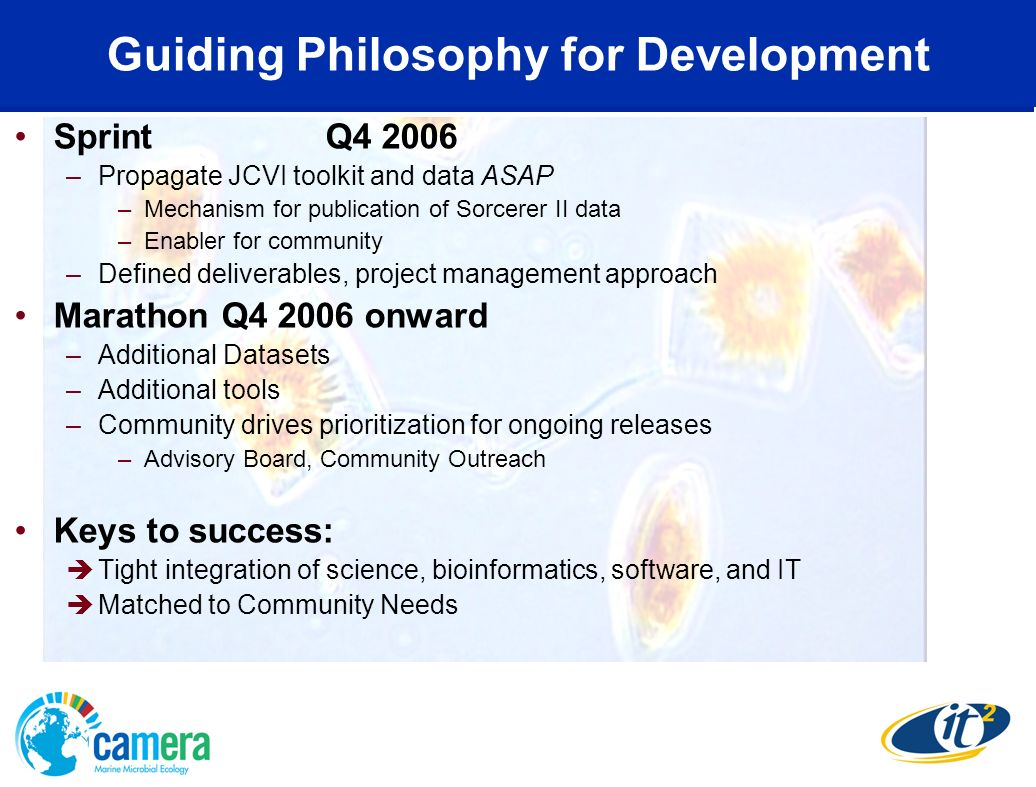 Guiding Philosophy for Development Sprint Q4 2006 –Propagate JCVI toolkit and data ASAP –Mechanism for publication of Sorcerer II data –Enabler for co