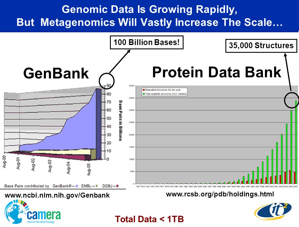 Genomic Data Is Growing Rapidly, But Metagenomics Will Vastly Increase The Scale… GenBank Protein Data Bank www.rcsb.org/pdb/holdings.html www.ncbi.nlm.nih.gov/Genbank 100 Billion Bases.