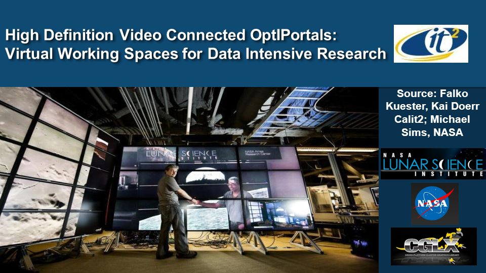 High Definition Video Connected OptIPortals: Virtual Working Spaces for Data Intensive Research Source: Falko Kuester, Kai Doerr Calit2; Michael Sims, NASA