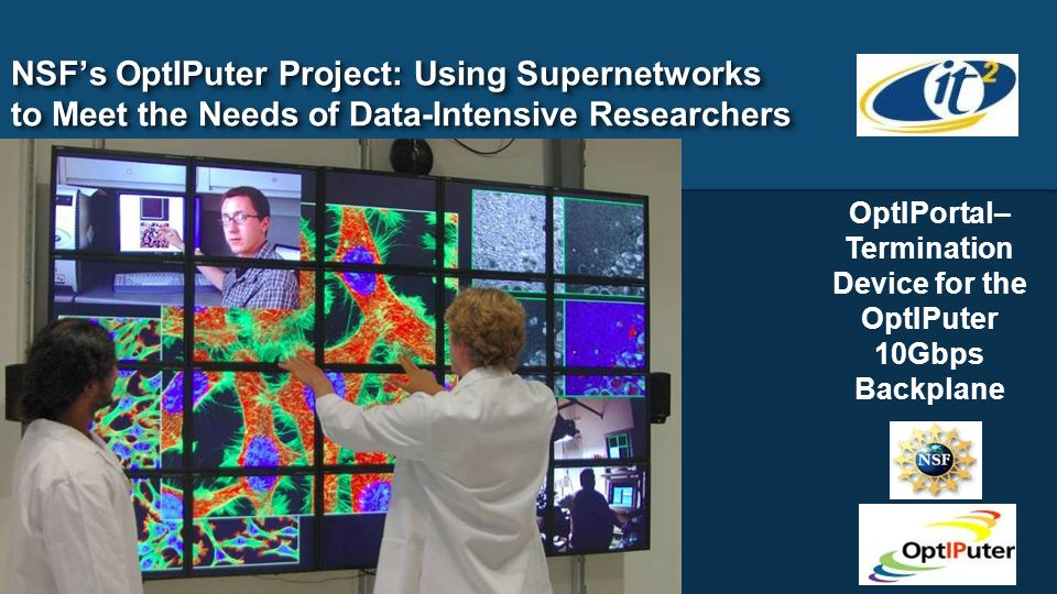 NSFs OptIPuter Project: Using Supernetworks to Meet the Needs of Data-Intensive Researchers OptIPortal– Termination Device for the OptIPuter 10Gbps Ba