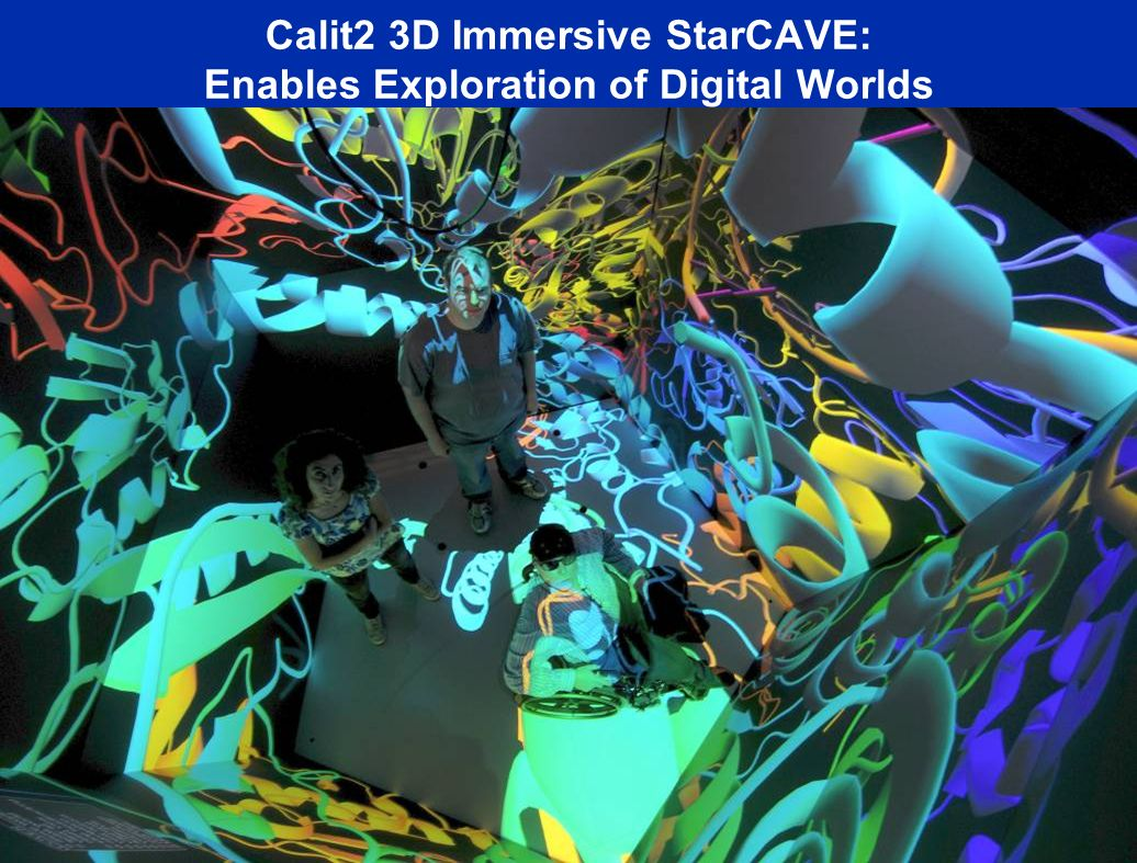 Calit2 3D Immersive StarCAVE: Enables Exploration of Digital Worlds Cluster with 30 Nvidia 5600 cards-60 GB Texture Memory Source: Tom DeFanti, Greg Dawe, Calit2 Connected at 50 Gb/s to Quartzite 30 HD Projectors.