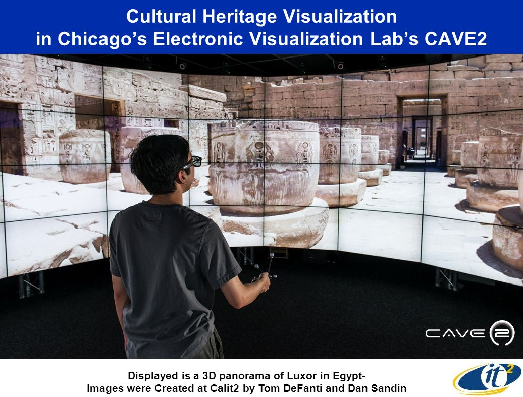 Cultural Heritage Visualization in Chicagos Electronic Visualization Labs CAVE2 Displayed is a 3D panorama of Luxor in Egypt- Images were Created at C