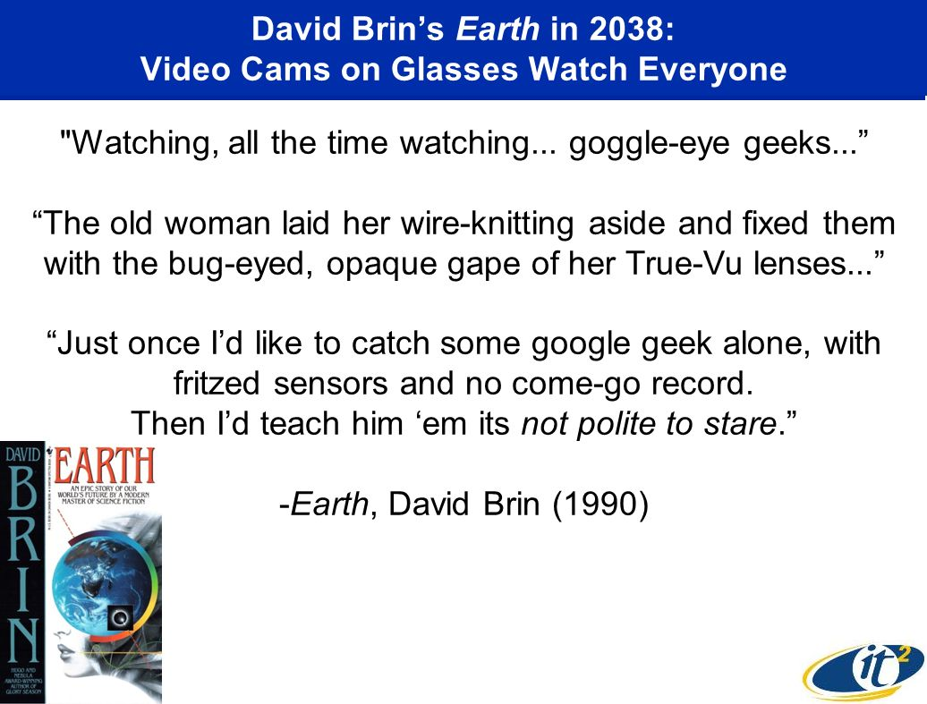David Brins Earth in 2038: Video Cams on Glasses Watch Everyone Watching, all the time watching...