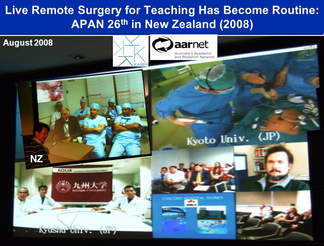 Live Remote Surgery for Teaching Has Become Routine: APAN 26 th in New Zealand (2008) August 2008 NZ