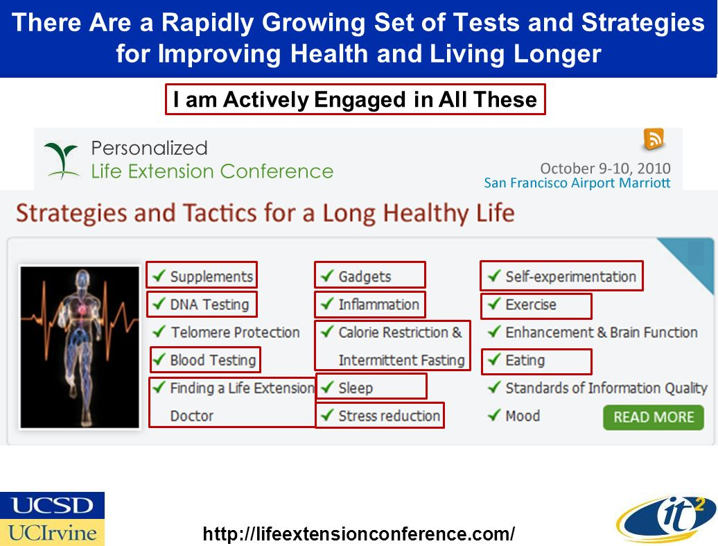 There Are a Rapidly Growing Set of Tests and Strategies for Improving Health and Living Longer I am Actively Engaged in All These http://lifeextensionconference.com/