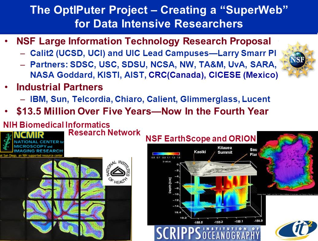 The OptIPuter Project – Creating a SuperWeb for Data Intensive Researchers NSF Large Information Technology Research Proposal –Calit2 (UCSD, UCI) and UIC Lead CampusesLarry Smarr PI –Partners: SDSC, USC, SDSU, NCSA, NW, TA&M, UvA, SARA, NASA Goddard, KISTI, AIST, CRC(Canada), CICESE (Mexico) Industrial Partners –IBM, Sun, Telcordia, Chiaro, Calient, Glimmerglass, Lucent $13.5 Million Over Five YearsNow In the Fourth Year NIH Biomedical Informatics NSF EarthScope and ORION Research Network