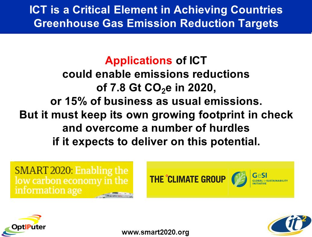 ICT is a Critical Element in Achieving Countries Greenhouse Gas Emission Reduction Targets Applications of ICT could enable emissions reductions of 7.8 Gt CO 2 e in 2020, or 15% of business as usual emissions.