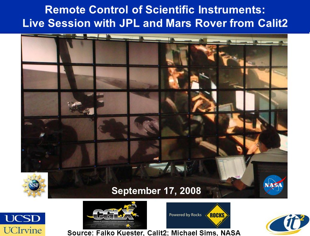 Remote Control of Scientific Instruments: Live Session with JPL and Mars Rover from Calit2 Source: Falko Kuester, Calit2; Michael Sims, NASA September 17, 2008