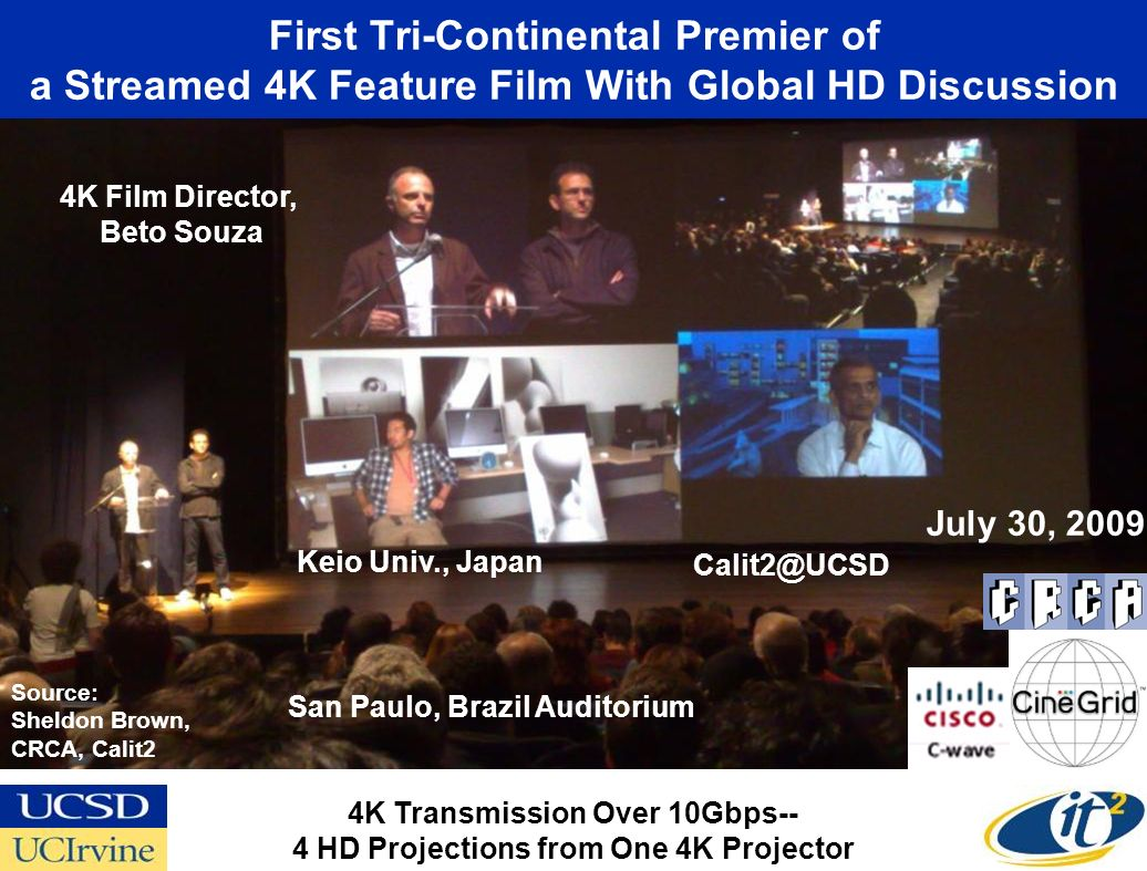 First Tri-Continental Premier of a Streamed 4K Feature Film With Global HD Discussion San Paulo, Brazil Auditorium Keio Univ., Japan 4K Transmission Over 10Gbps-- 4 HD Projections from One 4K Projector 4K Film Director, Beto Souza Source: Sheldon Brown, CRCA, Calit2 July 30, 2009