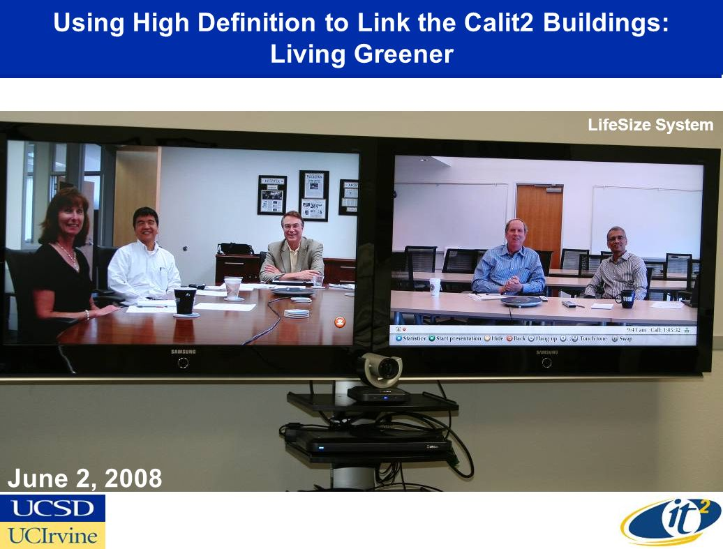 Using High Definition to Link the Calit2 Buildings: Living Greener June 2, 2008 LifeSize System