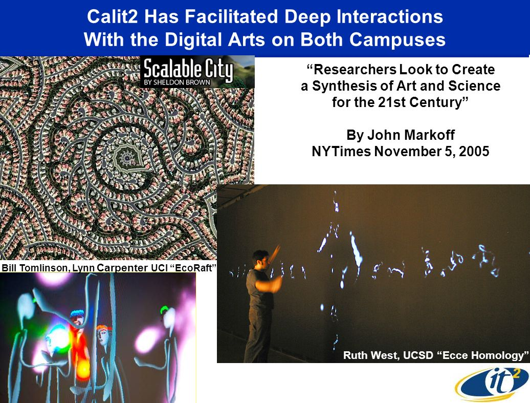 Calit2 Has Facilitated Deep Interactions With the Digital Arts on Both Campuses Researchers Look to Create a Synthesis of Art and Science for the 21st