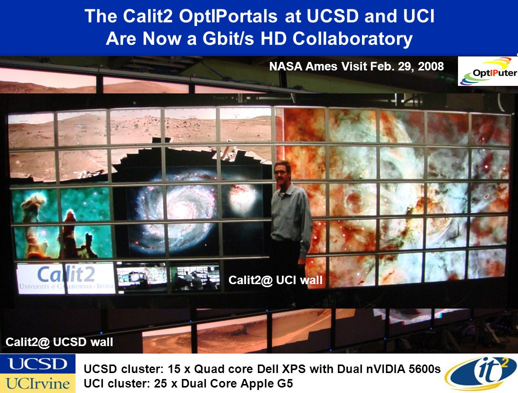 The Calit2 OptIPortals at UCSD and UCI Are Now a Gbit/s HD Collaboratory Calit2@ UCSD wall Calit2@ UCI wall NASA Ames Visit Feb.