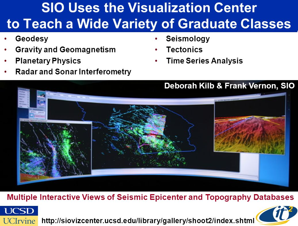 SIO Uses the Visualization Center to Teach a Wide Variety of Graduate Classes Geodesy Gravity and Geomagnetism Planetary Physics Radar and Sonar Interferometry Seismology Tectonics Time Series Analysis Multiple Interactive Views of Seismic Epicenter and Topography Databases   Deborah Kilb & Frank Vernon, SIO