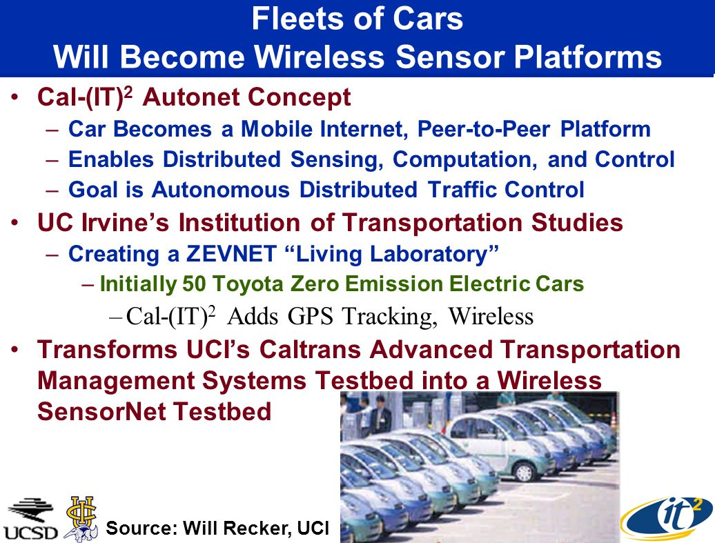 Fleets of Cars Will Become Wireless Sensor Platforms Cal-(IT) 2 Autonet Concept –Car Becomes a Mobile Internet, Peer-to-Peer Platform –Enables Distributed Sensing, Computation, and Control –Goal is Autonomous Distributed Traffic Control UC Irvines Institution of Transportation Studies –Creating a ZEVNET Living Laboratory –Initially 50 Toyota Zero Emission Electric Cars –Cal-(IT) 2 Adds GPS Tracking, Wireless Transforms UCIs Caltrans Advanced Transportation Management Systems Testbed into a Wireless SensorNet Testbed Source: Will Recker, UCI