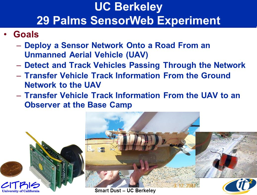 UC Berkeley 29 Palms SensorWeb Experiment Goals –Deploy a Sensor Network Onto a Road From an Unmanned Aerial Vehicle (UAV) –Detect and Track Vehicles Passing Through the Network –Transfer Vehicle Track Information From the Ground Network to the UAV –Transfer Vehicle Track Information From the UAV to an Observer at the Base Camp Smart Dust – UC Berkeley