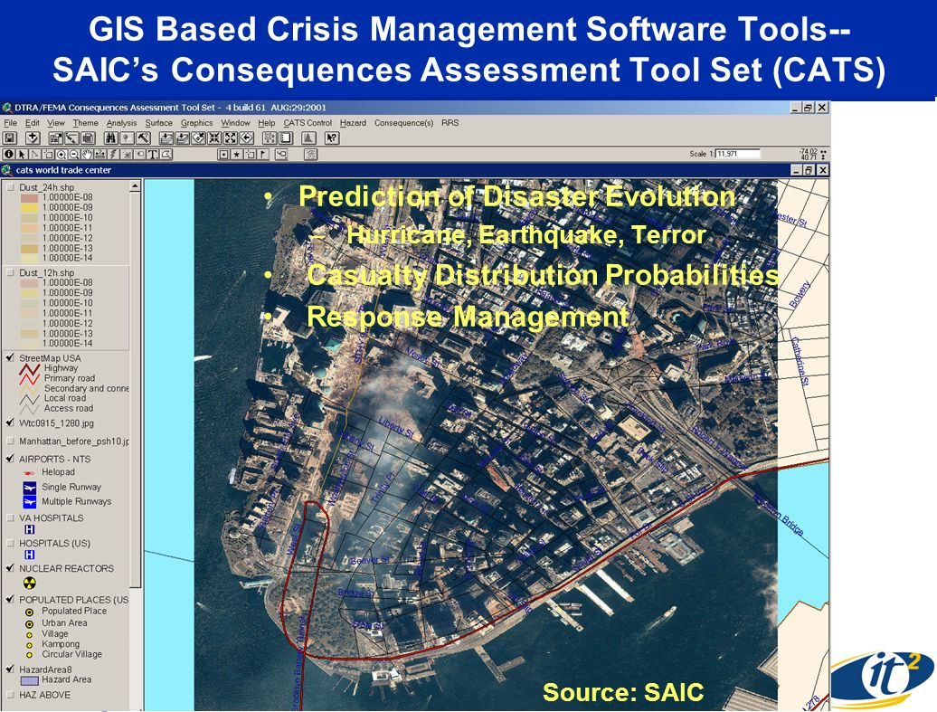 GIS Based Crisis Management Software Tools-- SAICs Consequences Assessment Tool Set (CATS) Prediction of Disaster Evolution – Hurricane, Earthquake, Terror Casualty Distribution Probabilities Response Management Source: SAIC