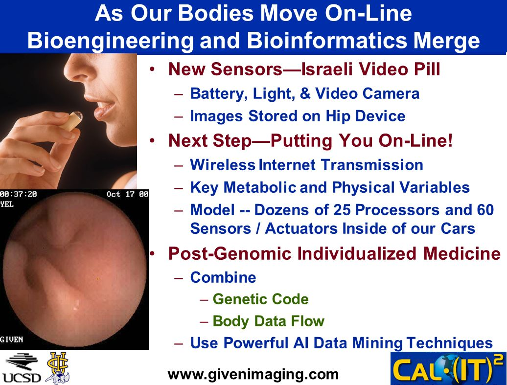 As Our Bodies Move On-Line Bioengineering and Bioinformatics Merge New SensorsIsraeli Video Pill –Battery, Light, & Video Camera –Images Stored on Hip Device Next StepPutting You On-Line.