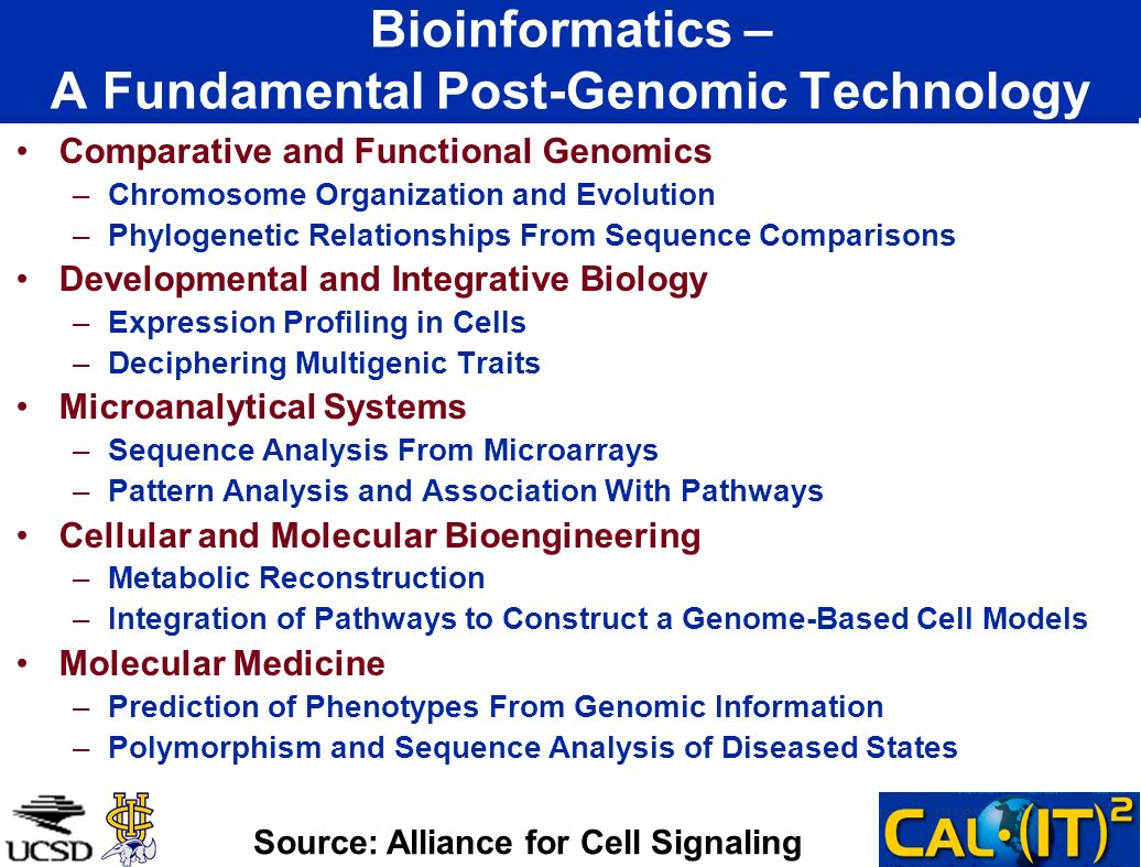 Bioinformatics – A Fundamental Post-Genomic Technology Comparative and Functional Genomics –Chromosome Organization and Evolution –Phylogenetic Relationships From Sequence Comparisons Developmental and Integrative Biology –Expression Profiling in Cells –Deciphering Multigenic Traits Microanalytical Systems –Sequence Analysis From Microarrays –Pattern Analysis and Association With Pathways Cellular and Molecular Bioengineering –Metabolic Reconstruction –Integration of Pathways to Construct a Genome-Based Cell Models Molecular Medicine –Prediction of Phenotypes From Genomic Information –Polymorphism and Sequence Analysis of Diseased States Source: Alliance for Cell Signaling