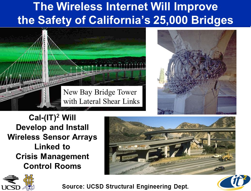 The Wireless Internet Will Improve the Safety of Californias 25,000 Bridges New Bay Bridge Tower with Lateral Shear Links Cal-(IT) 2 Will Develop and Install Wireless Sensor Arrays Linked to Crisis Management Control Rooms Source: UCSD Structural Engineering Dept.