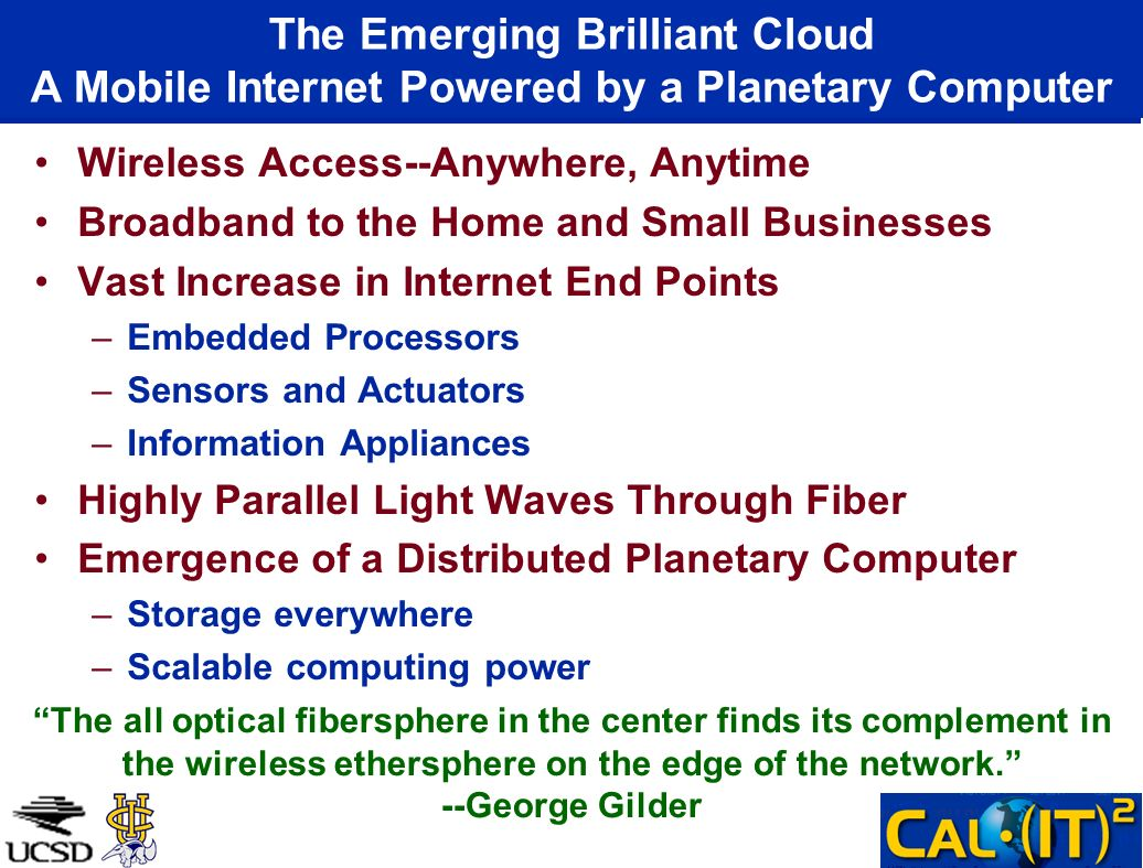 Wireless Access--Anywhere, Anytime Broadband to the Home and Small Businesses Vast Increase in Internet End Points –Embedded Processors –Sensors and A