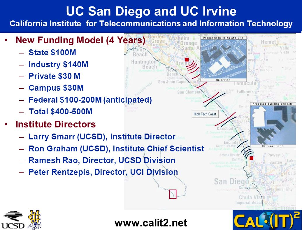 UC San Diego and UC Irvine California Institute for Telecommunications and Information Technology New Funding Model (4 Years) –State $100M –Industry $140M –Private $30 M –Campus $30M –Federal $100-200M (anticipated) –Total $400-500M Institute Directors –Larry Smarr (UCSD), Institute Director –Ron Graham (UCSD), Institute Chief Scientist –Ramesh Rao, Director, UCSD Division –Peter Rentzepis, Director, UCI Division www.calit2.net