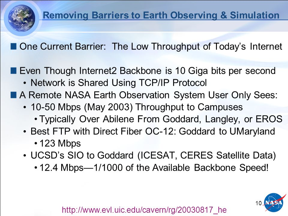 10 Removing Barriers to Earth Observing & Simulation One Current Barrier: The Low Throughput of Todays Internet Even Though Internet2 Backbone is 10 Giga bits per second Network is Shared Using TCP/IP Protocol A Remote NASA Earth Observation System User Only Sees: Mbps (May 2003) Throughput to Campuses Typically Over Abilene From Goddard, Langley, or EROS Best FTP with Direct Fiber OC-12: Goddard to UMaryland 123 Mbps UCSDs SIO to Goddard (ICESAT, CERES Satellite Data) 12.4 Mbps1/1000 of the Available Backbone Speed.