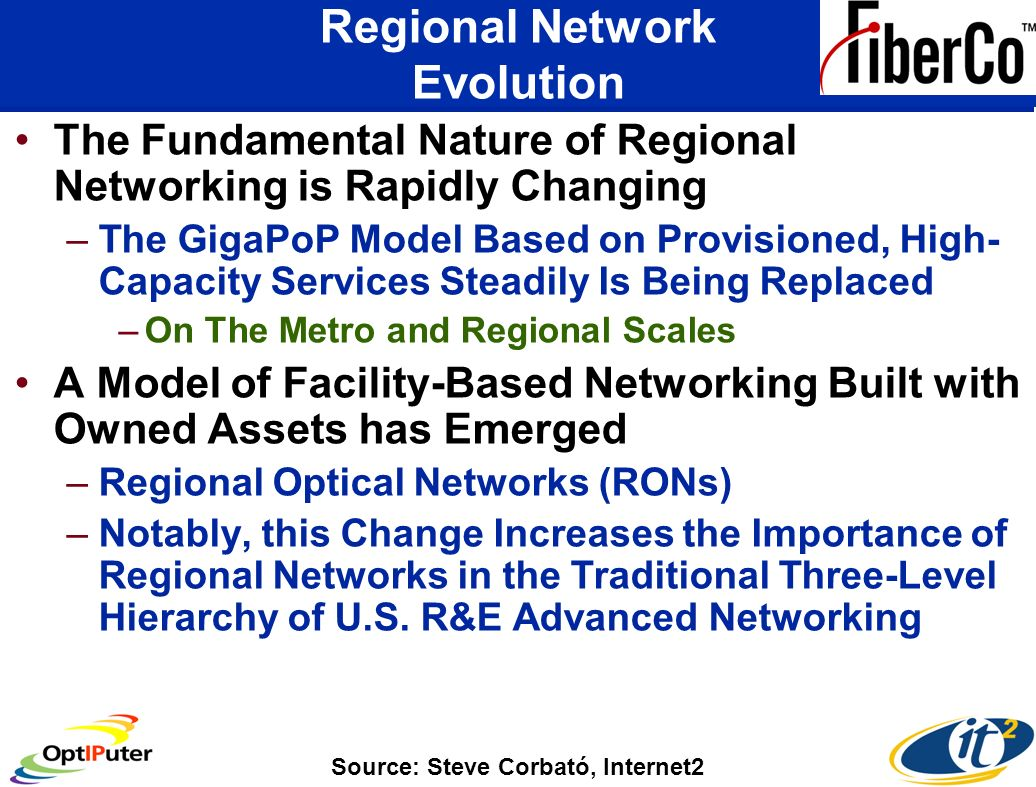 Regional Network Evolution The Fundamental Nature of Regional Networking is Rapidly Changing –The GigaPoP Model Based on Provisioned, High- Capacity Services Steadily Is Being Replaced –On The Metro and Regional Scales A Model of Facility-Based Networking Built with Owned Assets has Emerged –Regional Optical Networks (RONs) –Notably, this Change Increases the Importance of Regional Networks in the Traditional Three-Level Hierarchy of U.S.