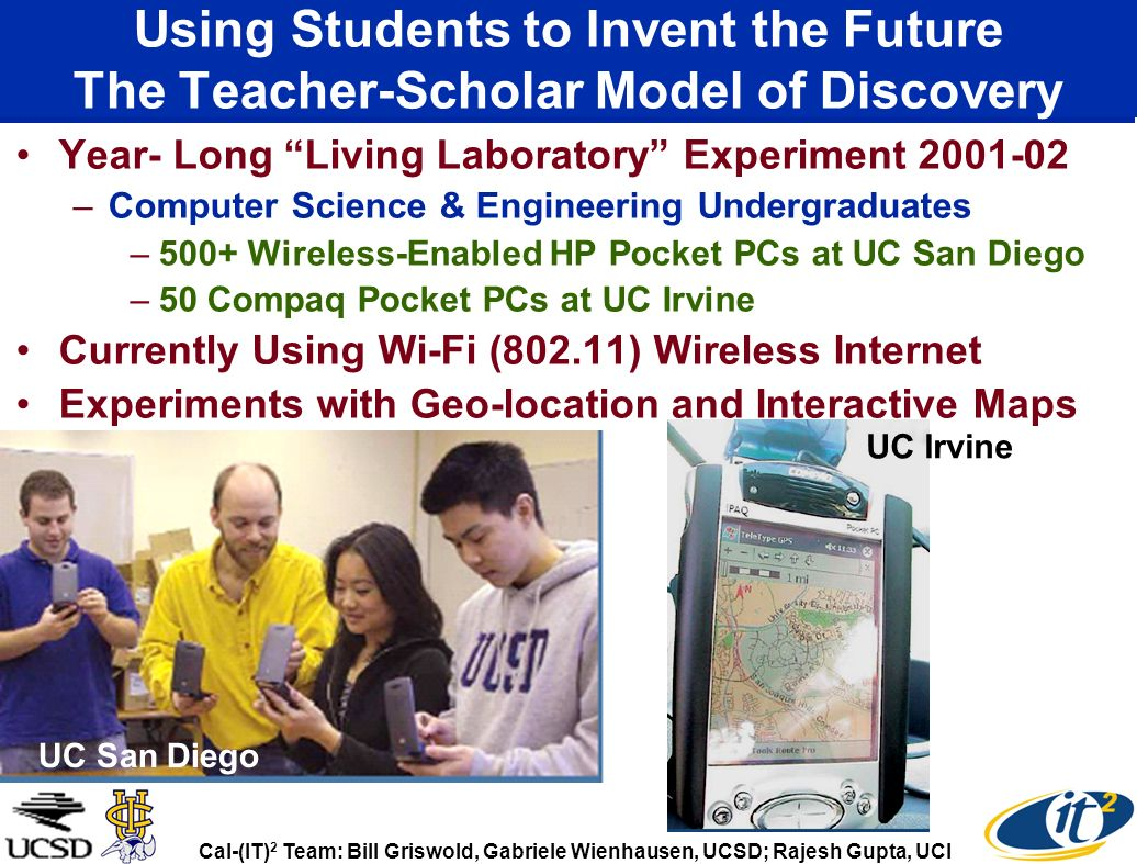 Using Students to Invent the Future The Teacher-Scholar Model of Discovery Year- Long Living Laboratory Experiment 2001-02 –Computer Science & Enginee