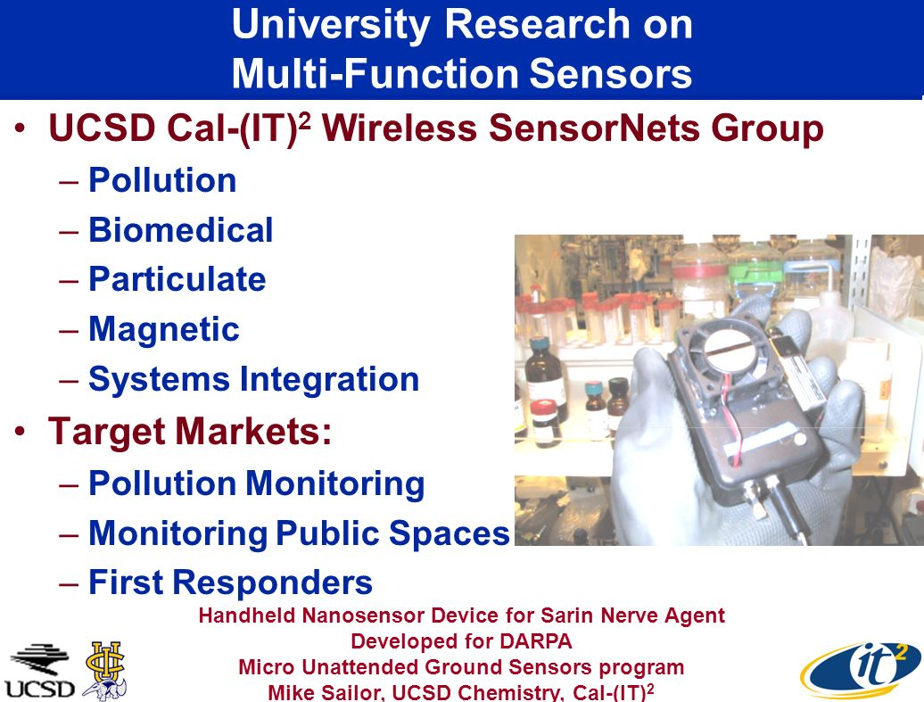 University Research on Multi-Function Sensors UCSD Cal-(IT) 2 Wireless SensorNets Group –Pollution –Biomedical –Particulate –Magnetic –Systems Integra