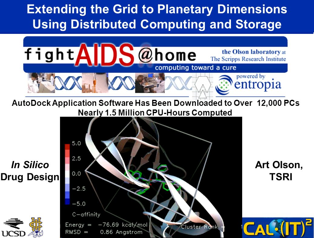Extending the Grid to Planetary Dimensions Using Distributed Computing and Storage AutoDock Application Software Has Been Downloaded to Over 12,000 PCs Nearly 1.5 Million CPU-Hours Computed In Silico Drug Design Art Olson, TSRI
